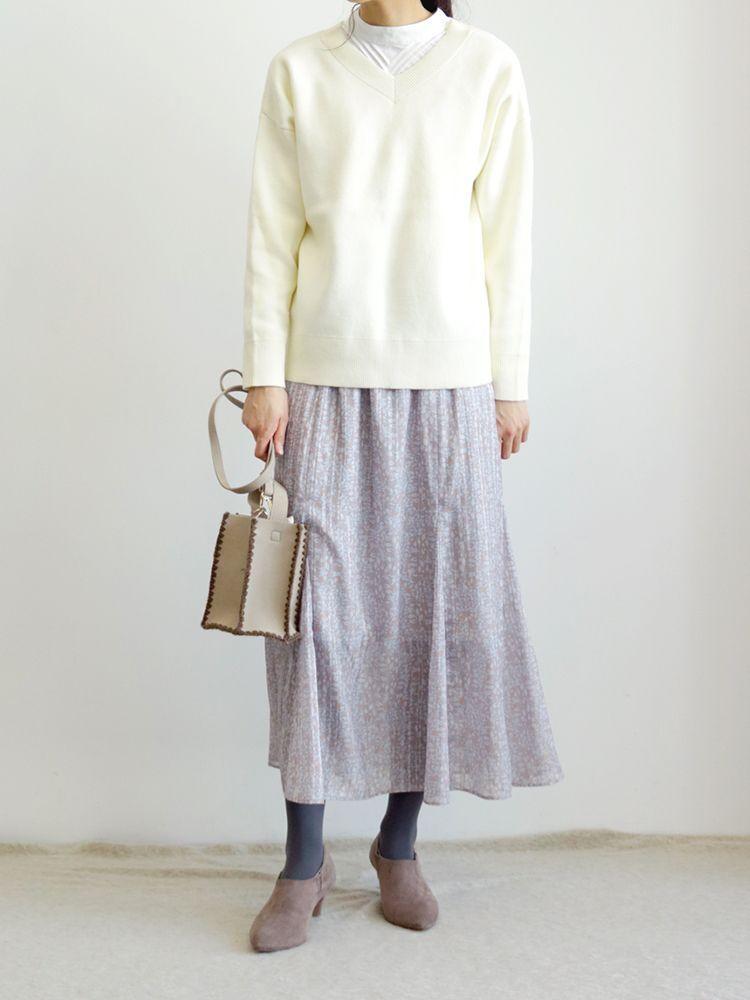 シアーストライプ小花柄スカート