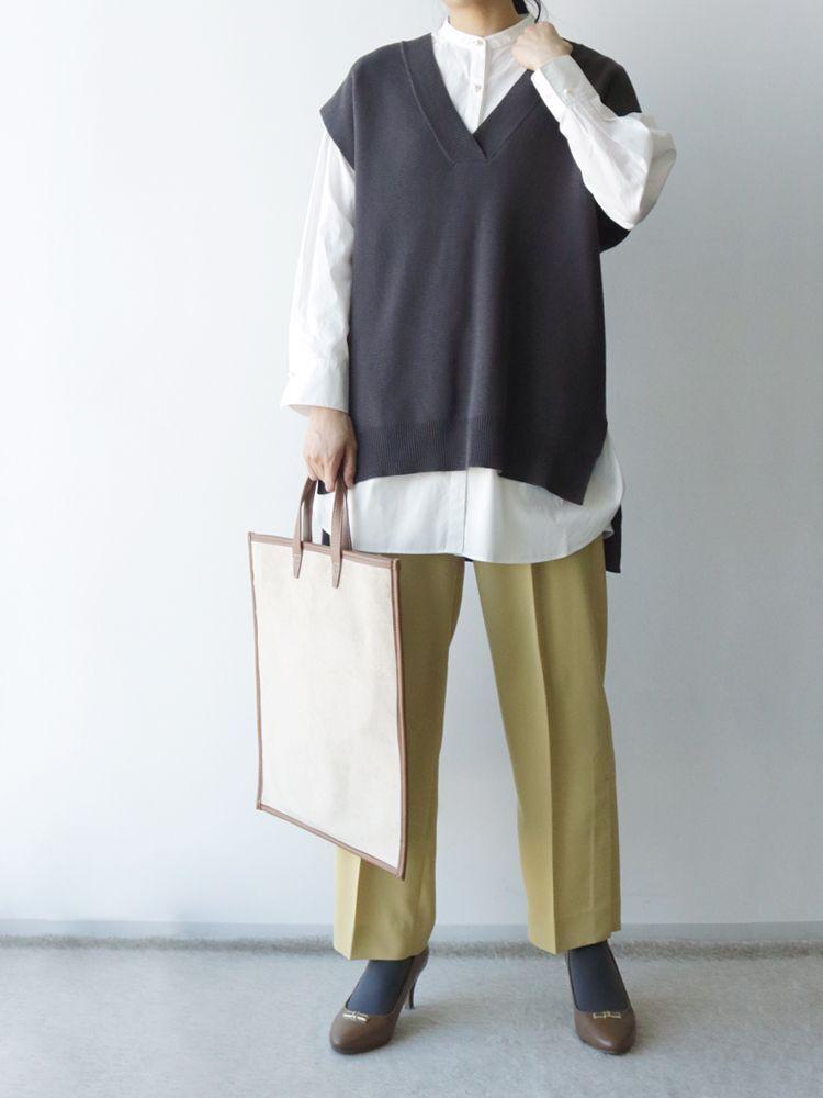 パール釦バンドカラーチュニックシャツ